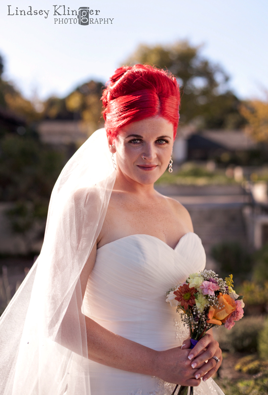 pink wedding hair portrait
